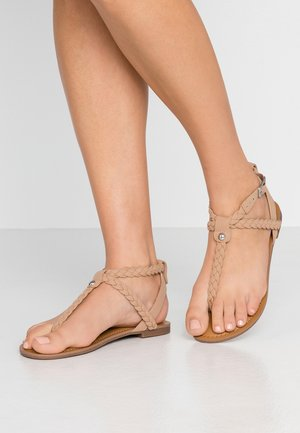 BRAIDED - T-bar sandals - tan