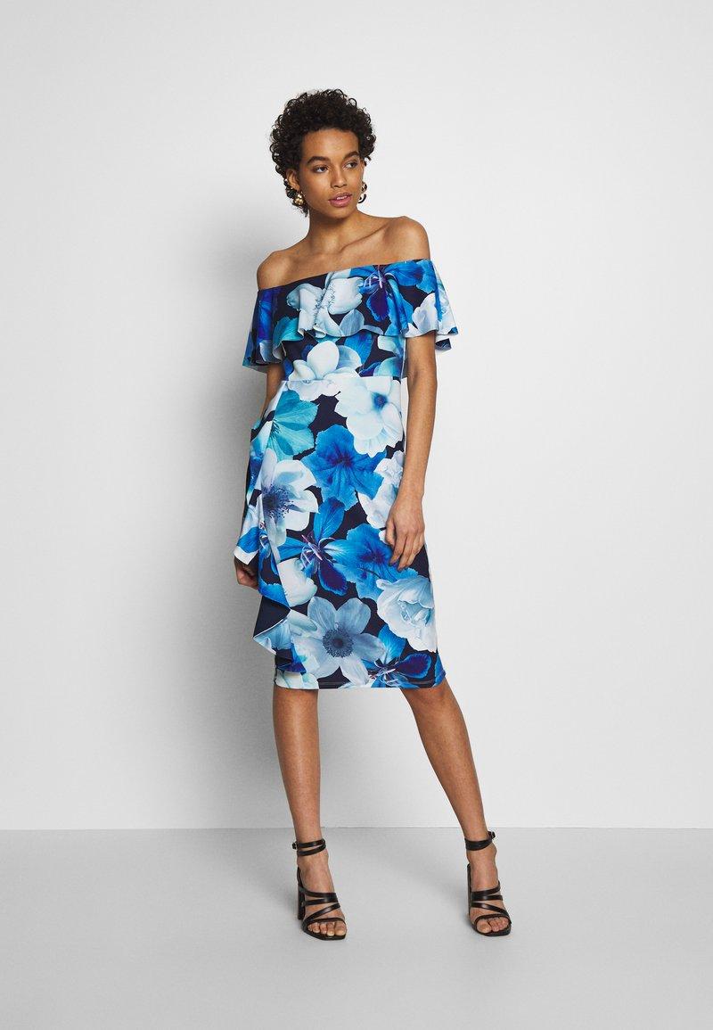 Dorothy Perkins - LUXE FLORAL BARDOT DRESS - Etuikjole - blue