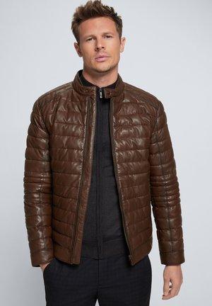 TORRE - Leather jacket - bisonbraun