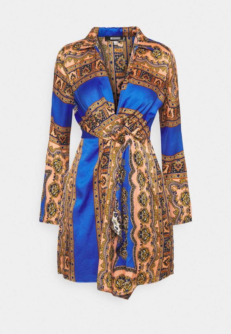 Missguided - KNOT FRONT SCARF PRINT DRESS - Kjole - blue