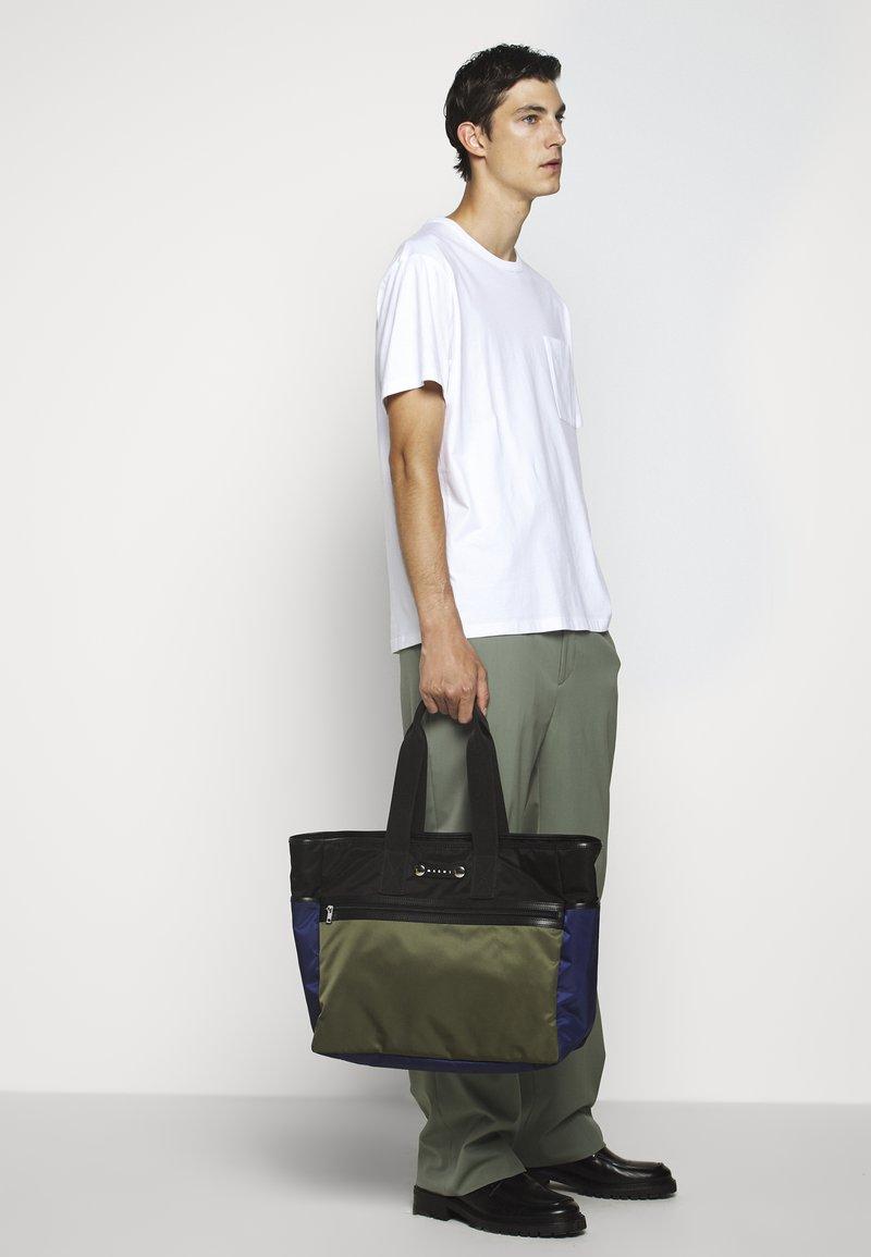 Marni - Shopping bag - black/ultramarine/forest green