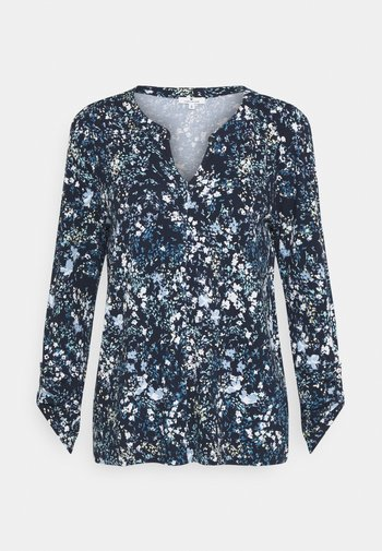 Long sleeved top - navy/yellow