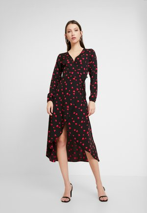 LONG SLEEVE MIDAXI WRAP DRESS WITH DIPPED HEM - Day dress - black/red/pink