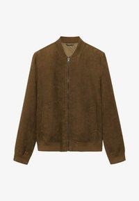 MIT WILDLEDER-EFFEKT - Faux leather jacket - beige