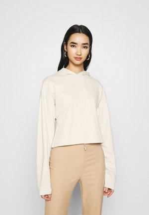 DRAWSTRING FRONT HOODIE - Long sleeved top - light beige