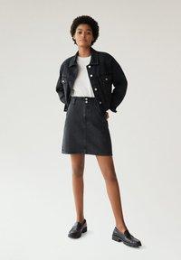 Mango - PAPERBAG - A-line skirt - black denim - 1