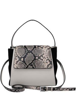 MIT SCHLANGENMUSTER-DETAILS - Handbag - beige-schwarz