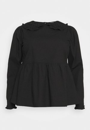 PETER PAN COLLAR PUFF SLEEVE PEPLUM BLOUSE - Blůza - black
