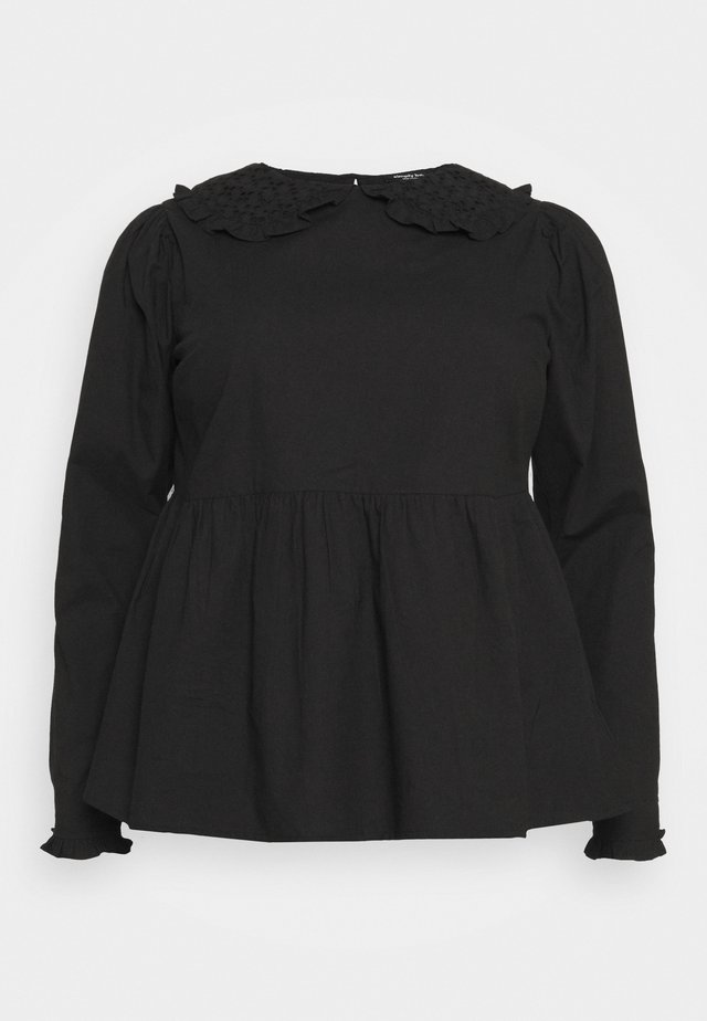 PETER PAN COLLAR PUFF SLEEVE PEPLUM BLOUSE - Blouse - black