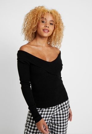 OBJFEVA OFF SHOULDER - Jersey de punto - black