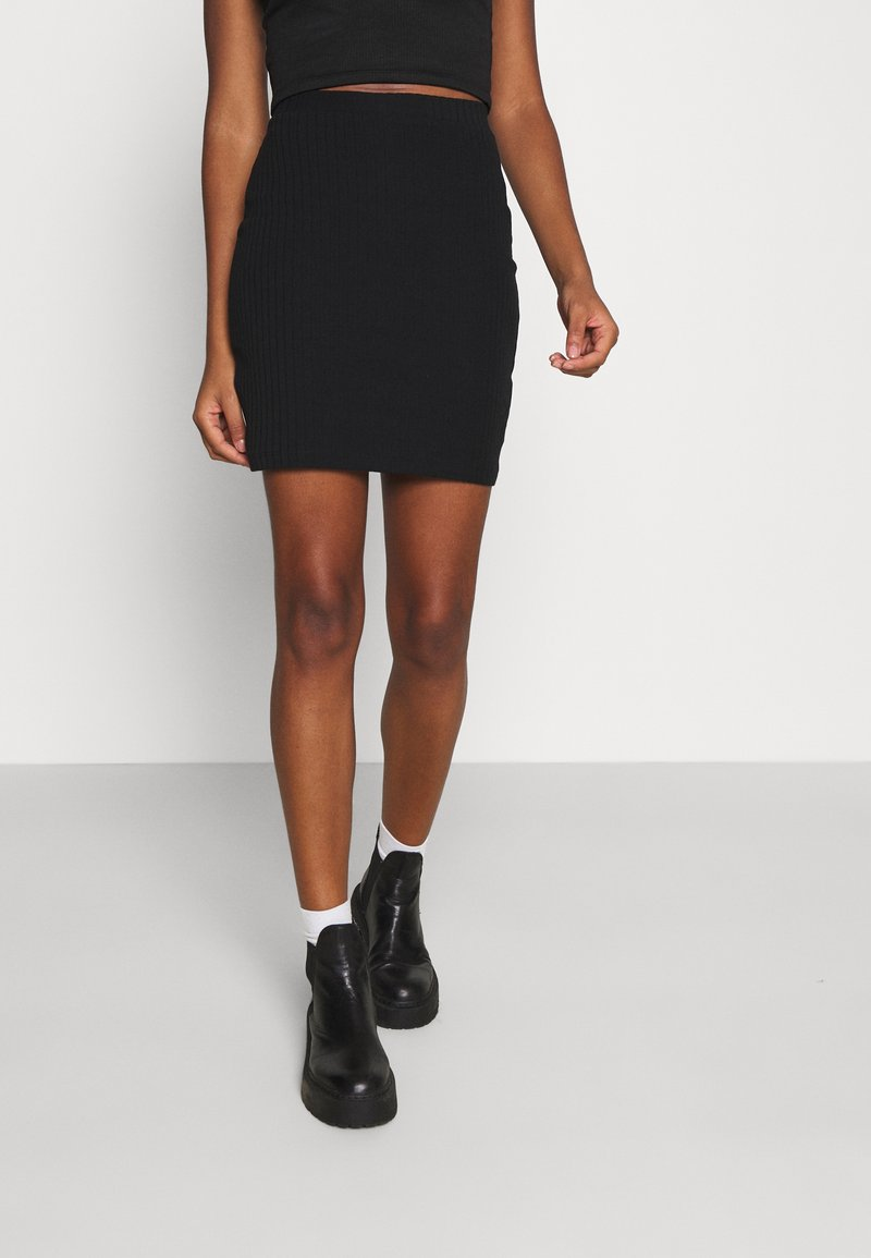 Even&Odd - Basic mini ribbed skirt - Kynähame - black