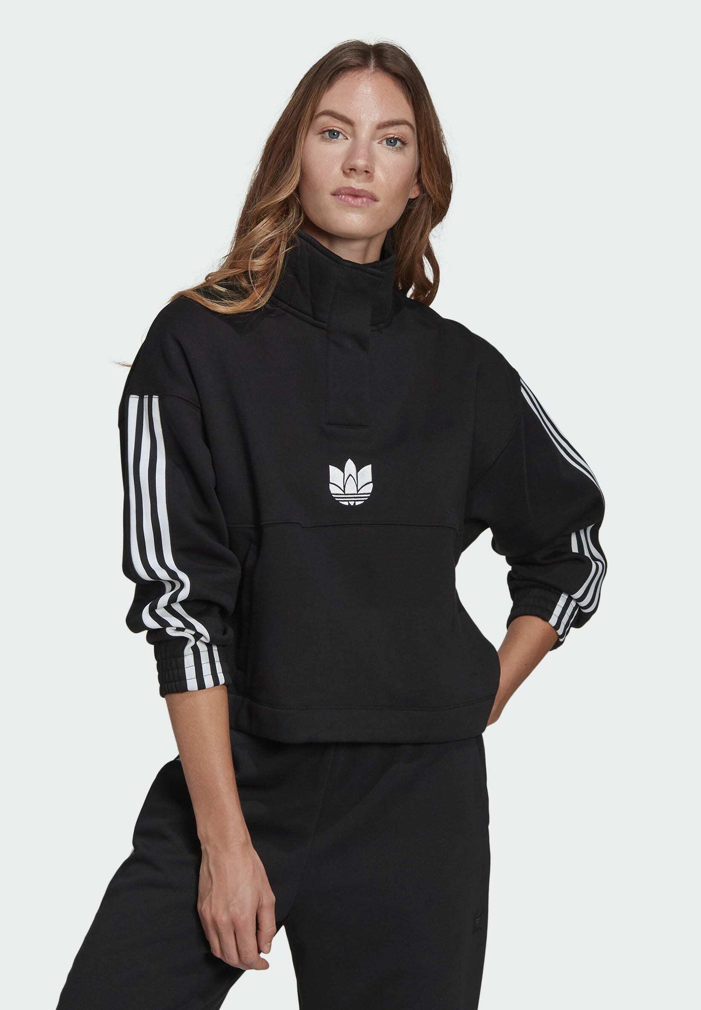 Women ADICOLOR 3D TREFOIL FLEECE HALF-ZIP SWEATSHIRT - Sweatshirt