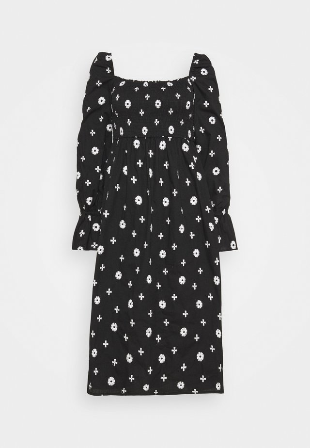 CROSS EMBROIDERED MIDI - Korte jurk - black