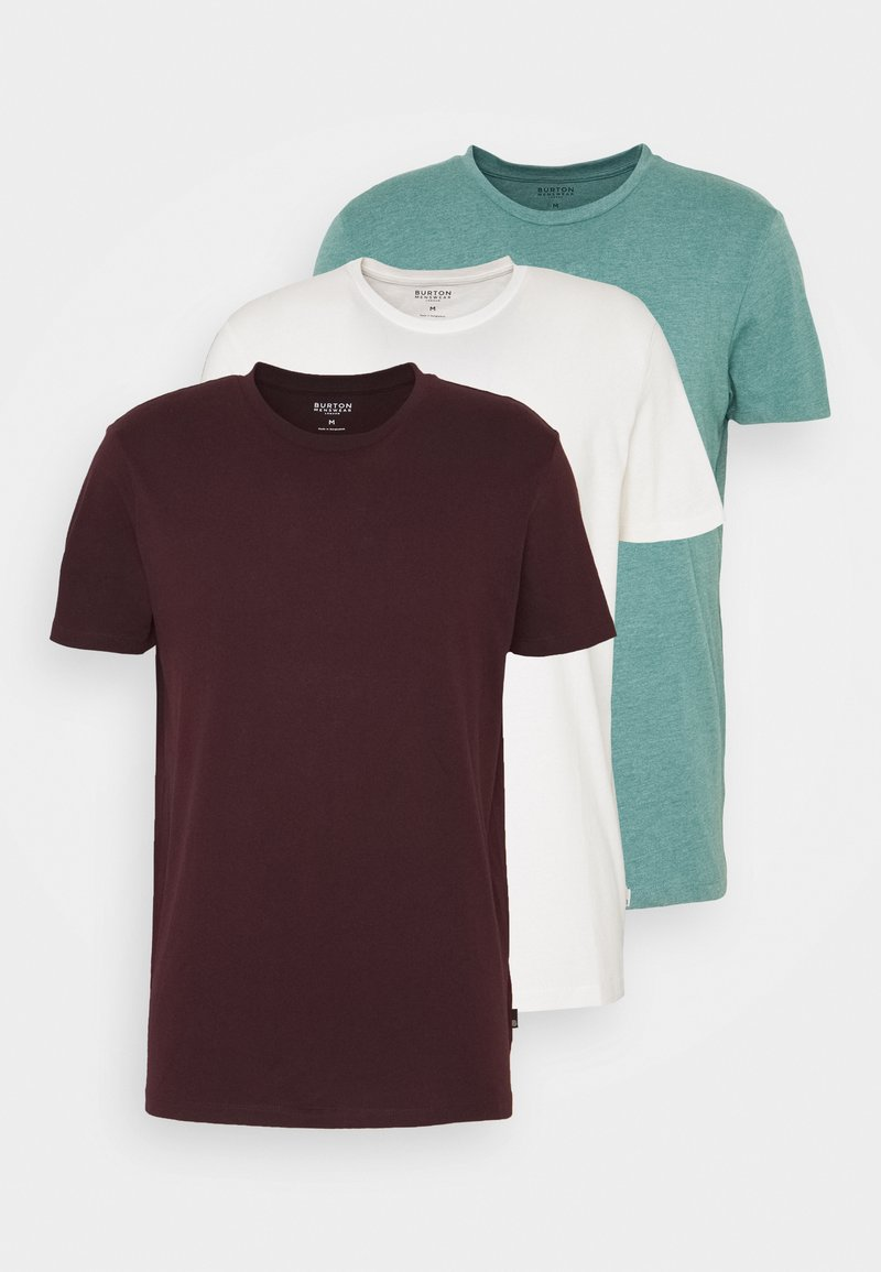 Burton Menswear London - SHORT SLEEVE CREW 3 PACK - Basic T-shirt - bordeaux/white