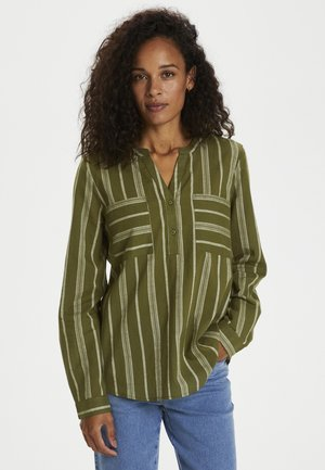 KASANDY - Blouse - green/grey yarn dyed stripe