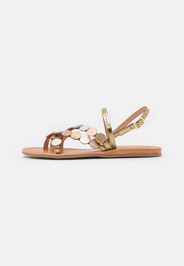 HOLO - T-bar sandals - bronze/multicolor