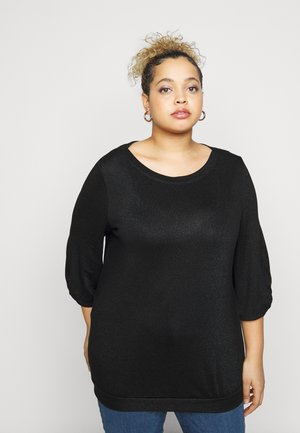 BALLOON SLEEVE - Long sleeved top - deep black