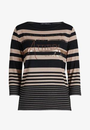 MIT STRASS - Long sleeved top - black/camel