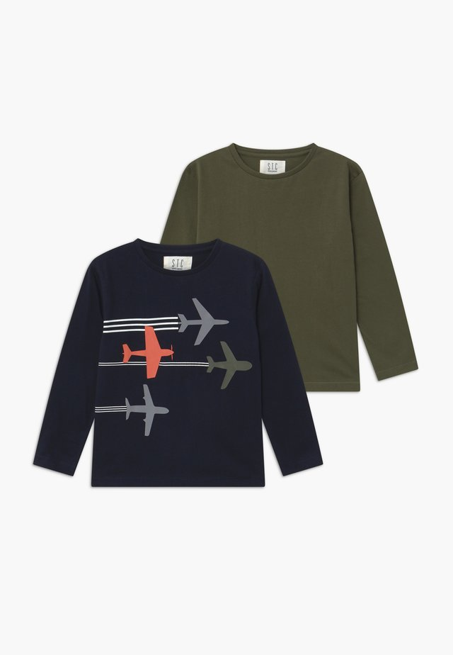 BOYS LONG SLEEVE 2 PACK - Long sleeved top - dark blue/khaki