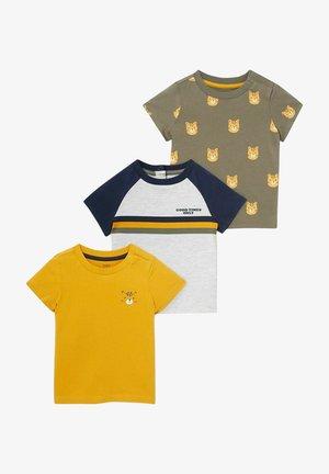 3 PACK - Print T-shirt - khaki yellow black white