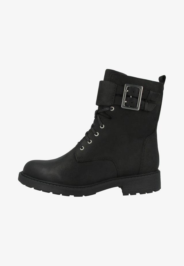 Cowboy-/Bikerstiefelette - black wlined leather