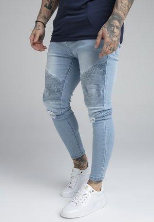 DISTRESSED BIKER - Jeans slim fit - light blue