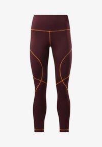 Reebok - MYT CONTRAST STITCH LEGGINGS - Leggings - burgundy - 6