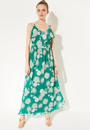 Maxi dress - green big flowers