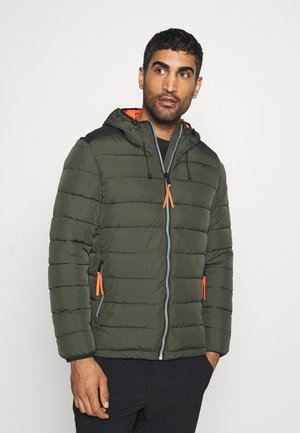 MAN JACKET FIX HOOD - Winter jacket - oil green