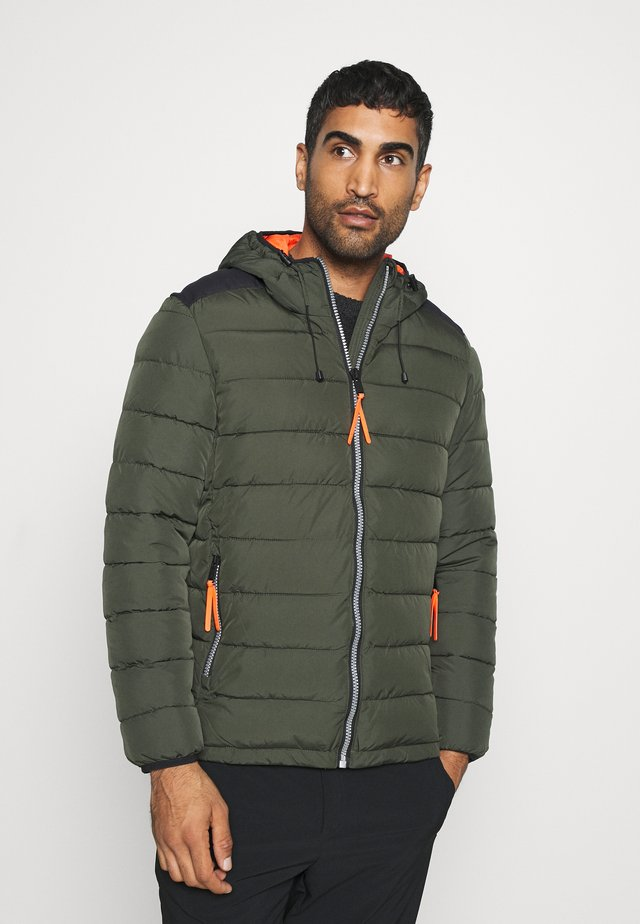 MAN JACKET FIX HOOD - Winterjas - oil green