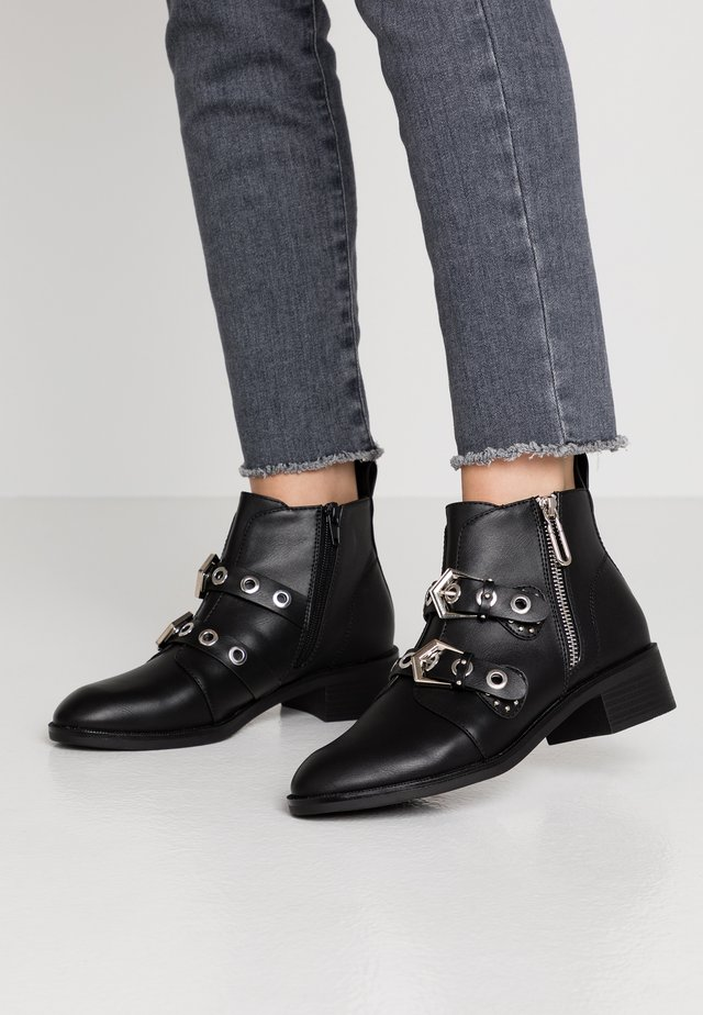 ONLBRIGHT ZIP BUCKLE - Ankle boots - black