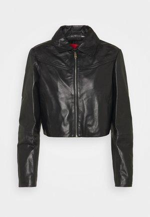 MICRON - Leather jacket - black