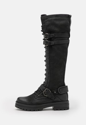 Šněrovací vysoké boty - nero
