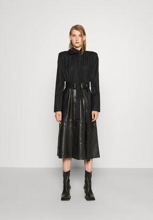 PADDED SHOULDER COMBO DRESS - Cocktail dress / Party dress - black