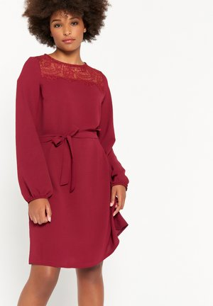 CALF-LENGTH WITH LONG SLEEVES - Jersey dress - bordeaux