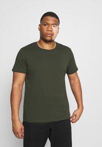 LTB - 2 PACK - Basic T-shirt - bordeaux/olive - 3