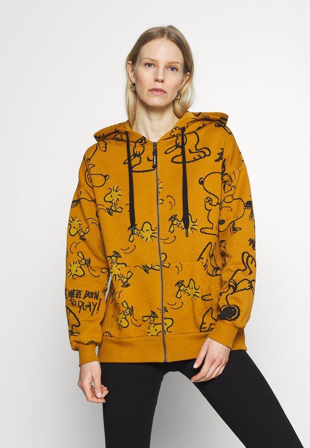 SNOOPY HOODY - Zip-up hoodie - mustrard yellow