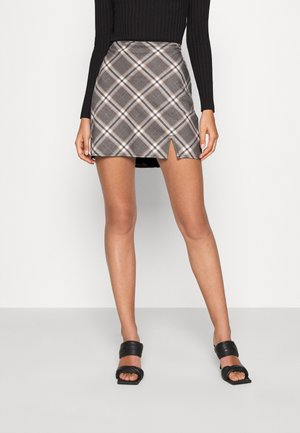PLAID MINI SKIRT - Mini skirt - grey