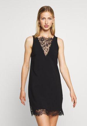 V-NECK DETAIL DRESS - Day dress - black
