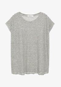 Violeta by Mango - GESTREEPT LINNEN - Print T-shirt - zwart - 4
