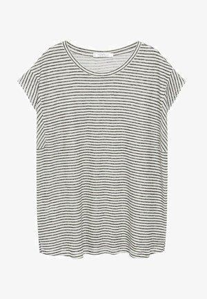 GESTREEPT LINNEN - Print T-shirt - zwart