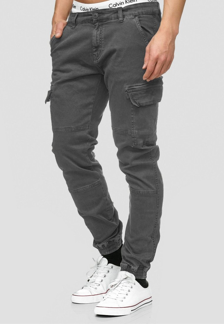 INDICODE JEANS - AUGUST - Cargo trousers - raven