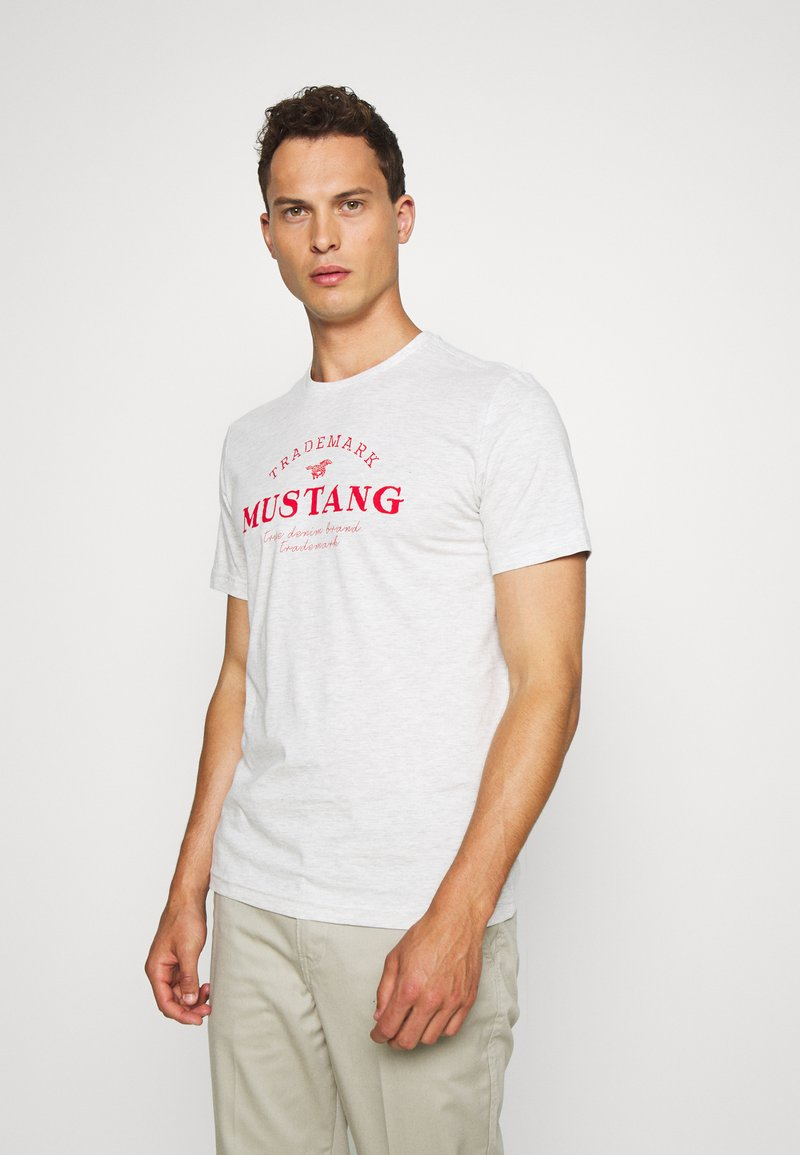 Mustang - ALEX - T-shirt z nadrukiem - light grey melange