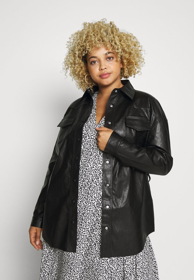 SHIRT JACKETS - Faux leather jacket - black