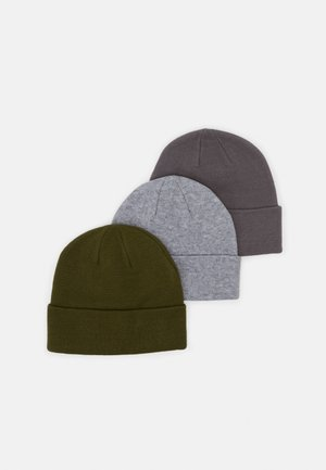 3 PACK UNISEX - Beanie - light grey/dark grey/olive