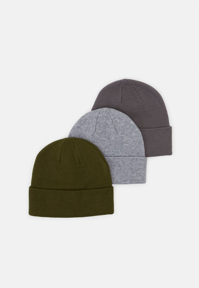 3 PACK UNISEX - Čepice - light grey/dark grey/olive