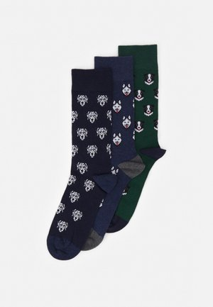 3 PACK - Ponožky - dark blue/mottled blue/dark green