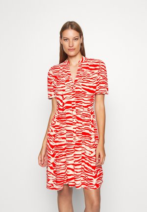 ZEBRA PRINT WAISTED BUTTON THROUGH DRESS - Skjortekjole - oddyssey