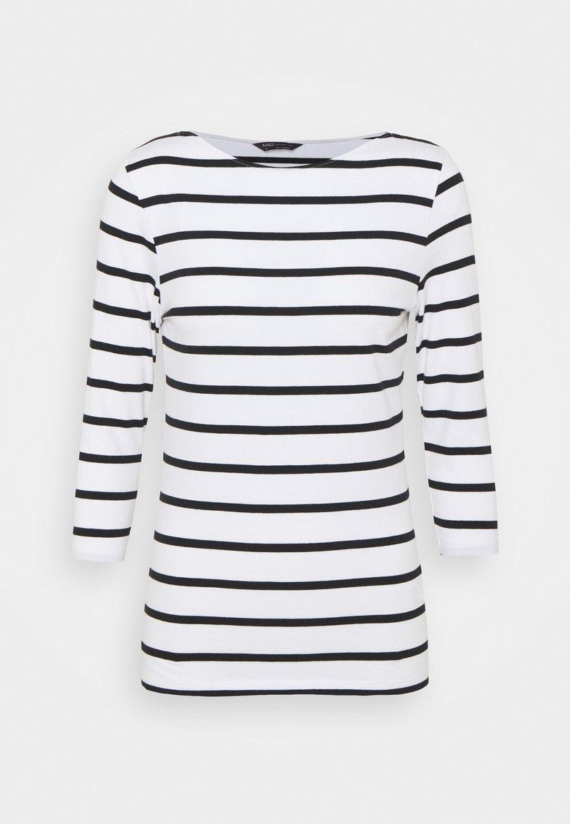 Marks & Spencer London - FITTED STRIPE - Long sleeved top - black