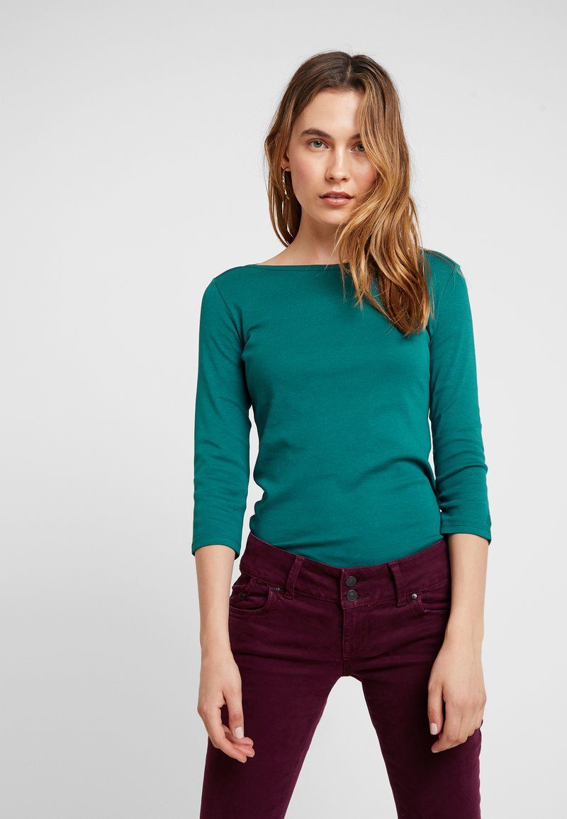 Benetton - 3/4 SLEEVE BOATNECK TEE - Langærmede T-shirts - forest green